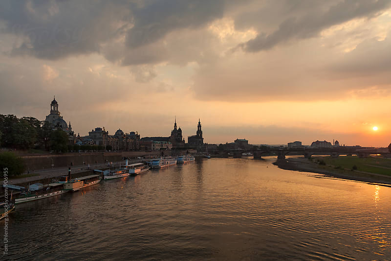 Dresden, Germany - City Skyline at Sunset by Tom Uhlenberg for Stocksy United