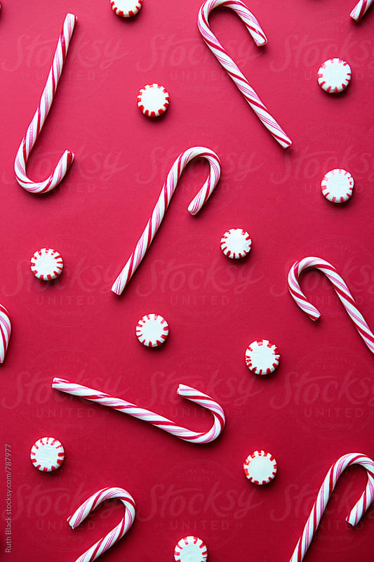 Candy cane background by Ruth Black for Stocksy United