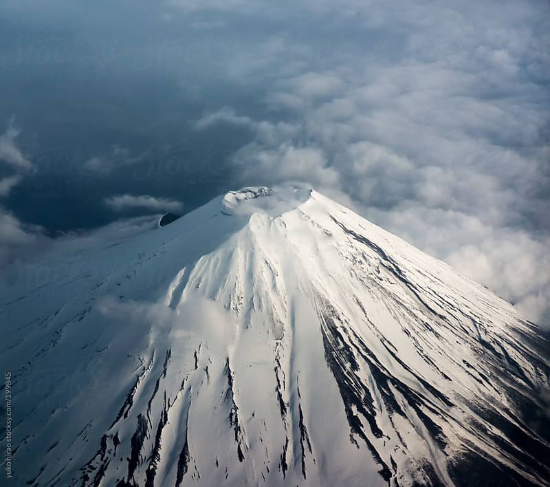 The crater of Mt. Fuji from above by yuko hirao for Stocksy United