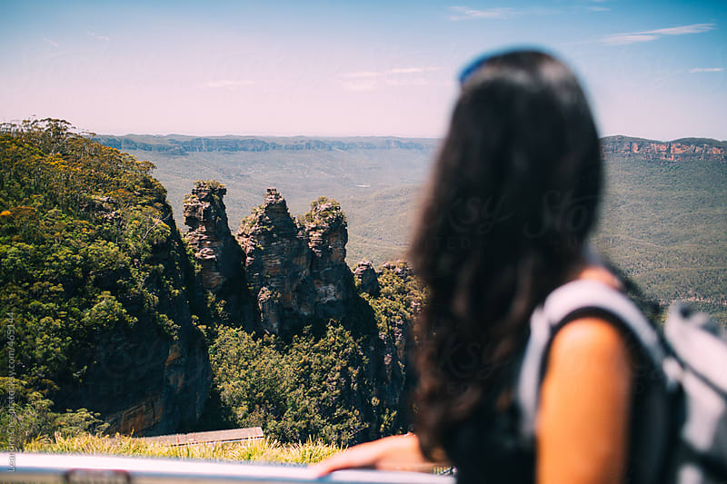 Woman in a viewer, The three sisters, Blue Mountains by Leandro Crespi for Stocksy United