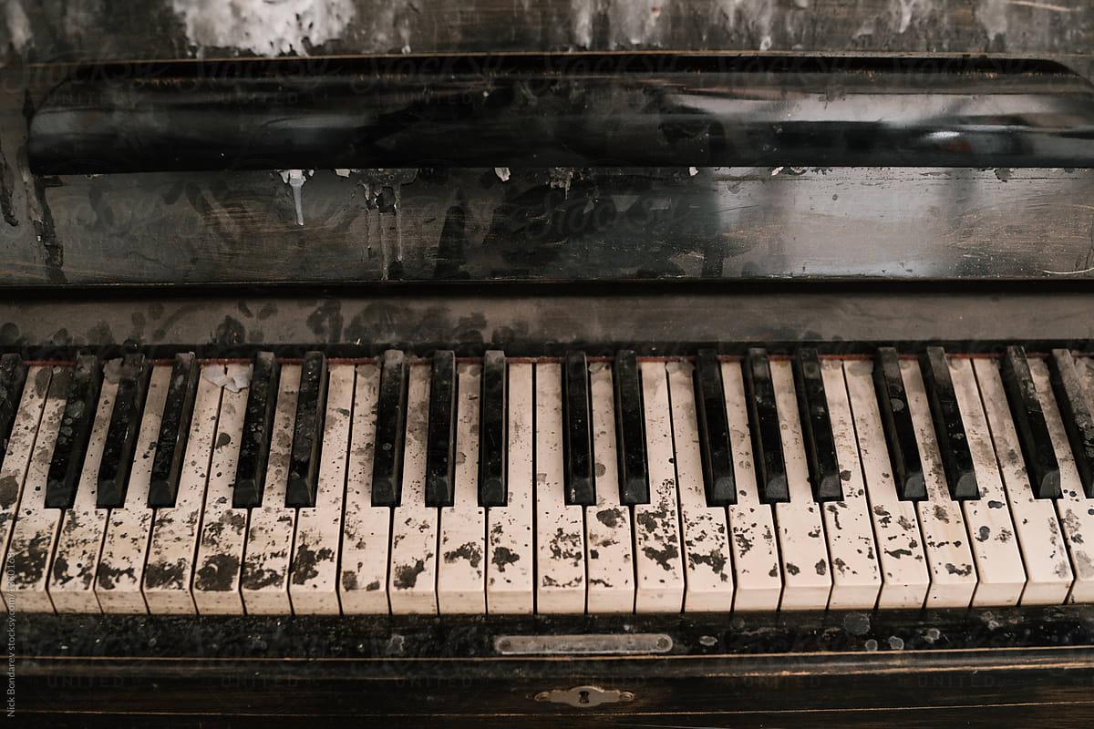 Stock Photo - Old Vintage Broken Dirty Piano Keys