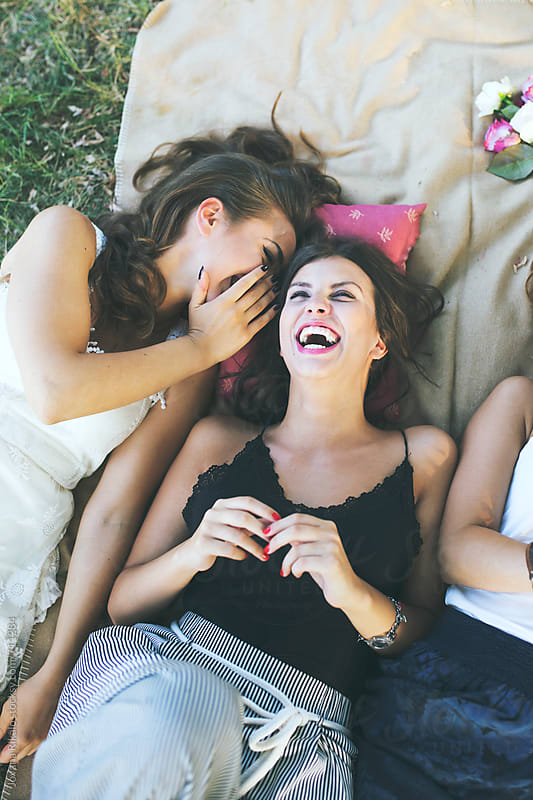 Happy female friends having fun outside in nature by Jovana Rikalo for Stocksy United