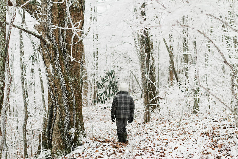 boy walking through snowy woods by Jess Lewis for Stocksy United