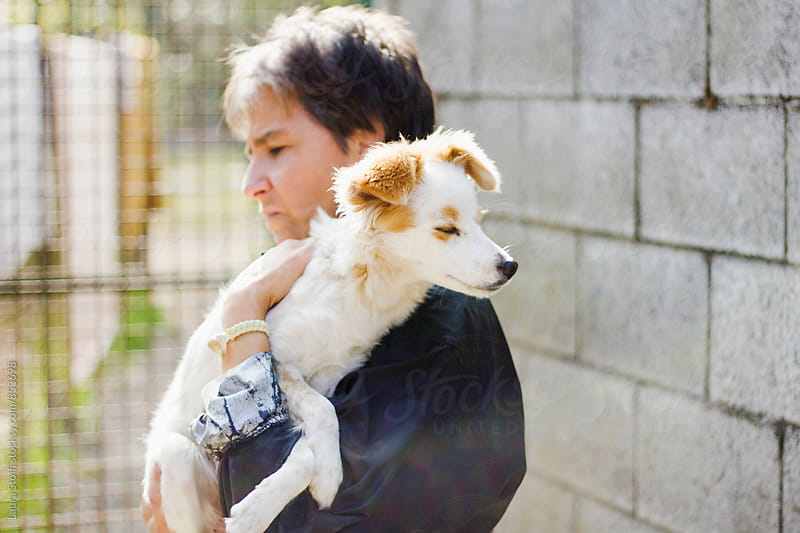 Woman holds in her arms adorable blinking pup in sunny outdoor by Laura Stolfi for Stocksy United