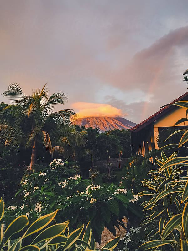 Sunset over a Volcano, indonesia by Leandro Crespi for Stocksy United