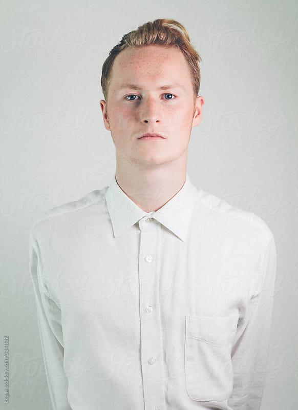 Elegant blonde man in white shirt. by kkgas for Stocksy United
