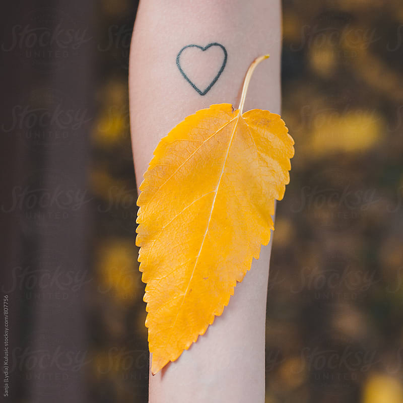 Yellow leaf on tattooed skin by Sanja (Lydia) Kulusic for Stocksy United