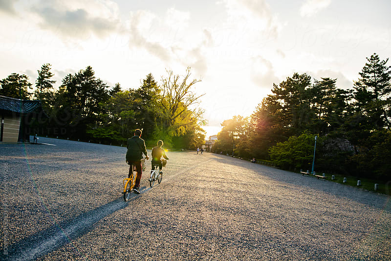 Back view of friends riding their bicycle in park at sunset. by BONNINSTUDIO for Stocksy United