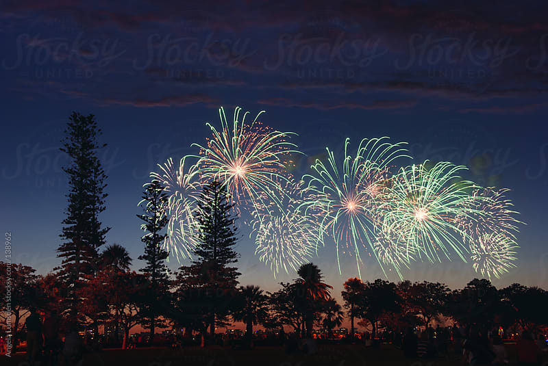 People watching fireworks on Australia Day by Angela Lumsden for Stocksy United