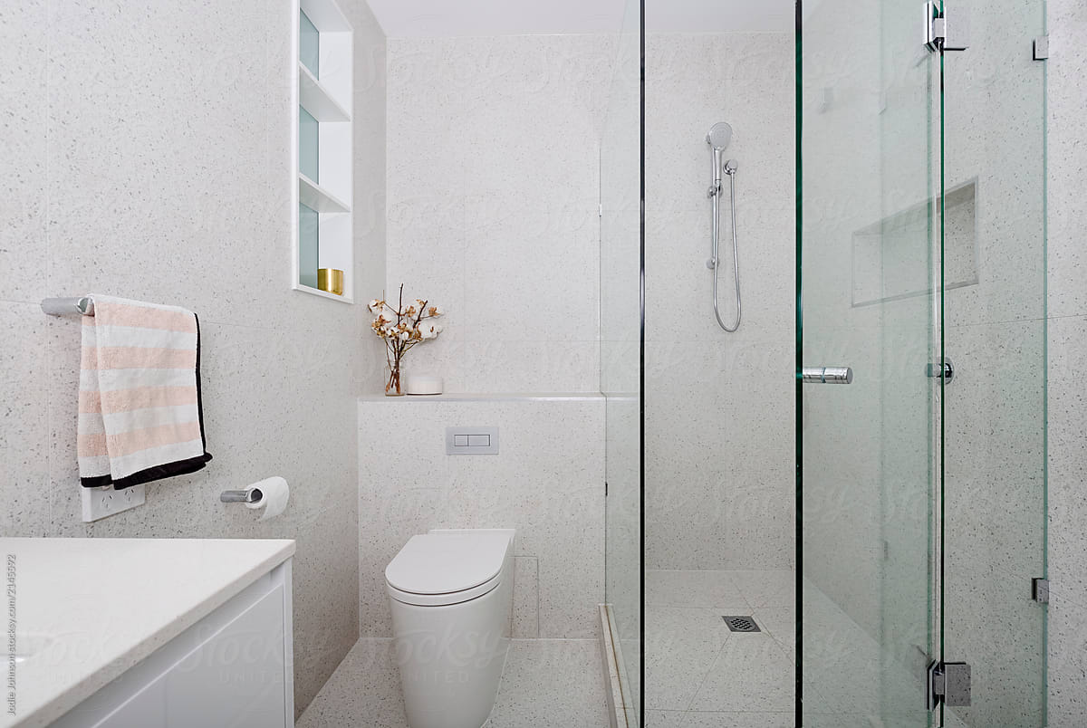 Bathroom With Terrazzo Wall And Floor Tiles By Jodie Johnson