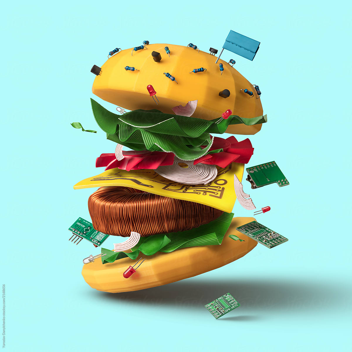 Big Burger As The Symbol Made From Technological Elements With