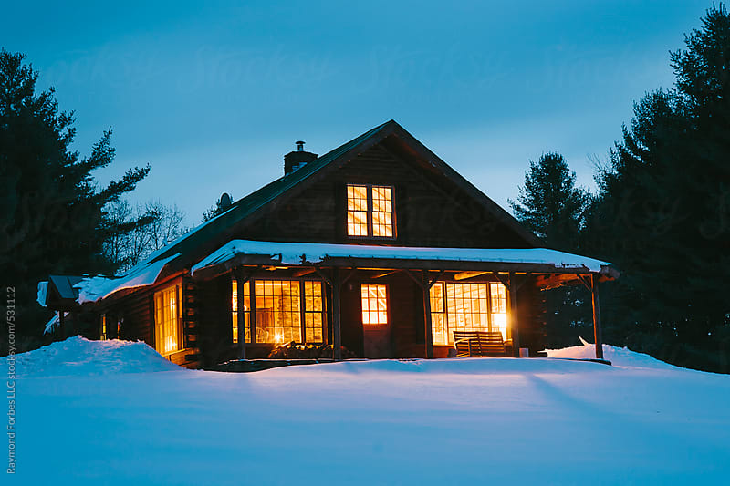 Vermont Log Cabin in Winter by Raymond Forbes LLC for Stocksy United