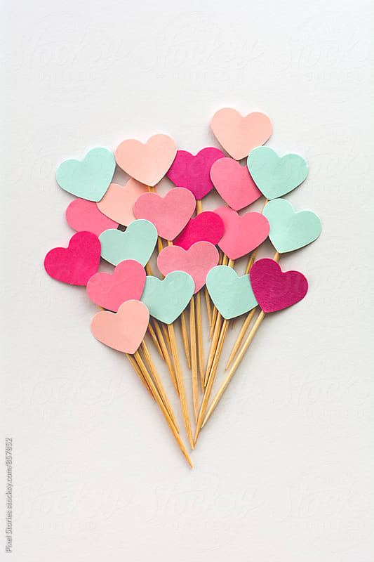 Handmade heart cupcake toppers by Pixel Stories for Stocksy United