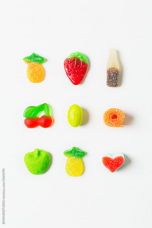 Variety of colorful gummy candies from above.  by BONNINSTUDIO for Stocksy United