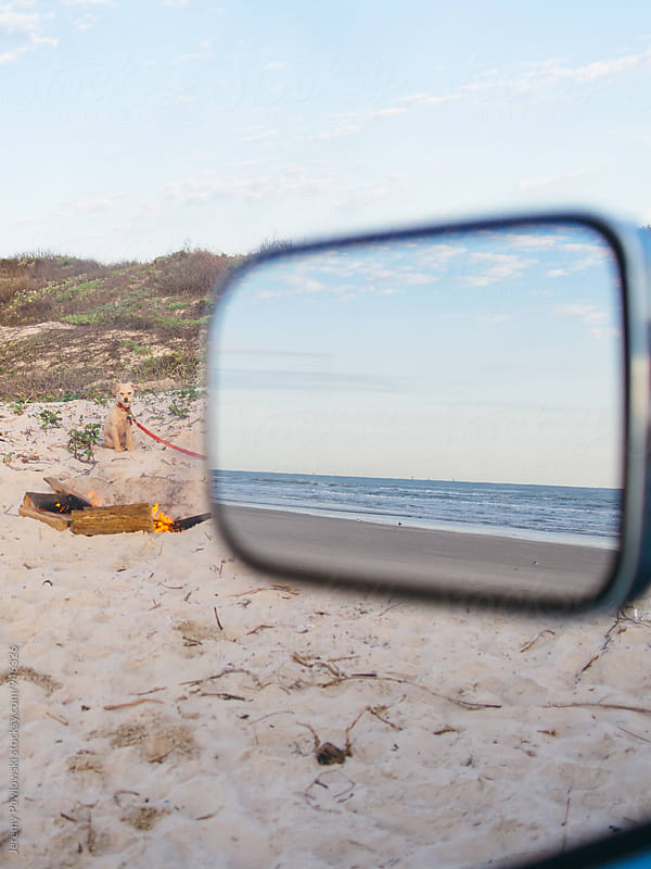 Ocean in side view mirror with dog and camp fire by Jeremy Pawlowski for Stocksy United