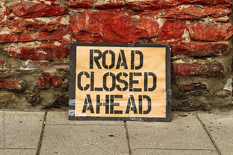 road closed ahead by Jess Lewis for Stocksy United