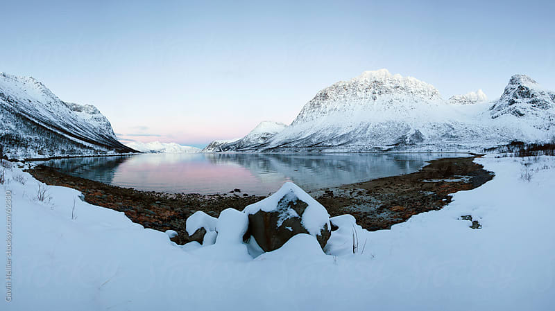 Snowy landscape on Kvaløya near Tromso, Troms region, Norway, Scandinavia by Gavin Hellier for Stocksy United