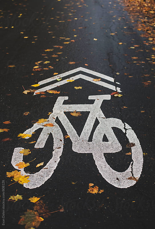 Bike Path Sign On Autumn Neighborhood Road by Evan Dalen for Stocksy United