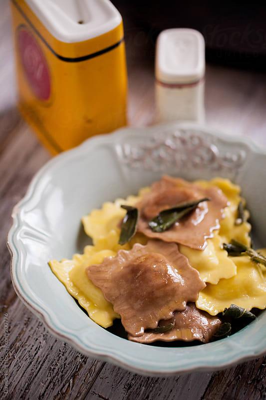 Ravioli in Brown Butter Sage Sauce by Davide Illini for Stocksy United