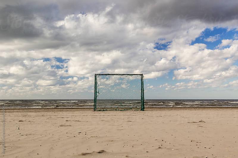 Goal for beach soccer at the beach in Jurmala, Latvia by Melanie Kintz for Stocksy United