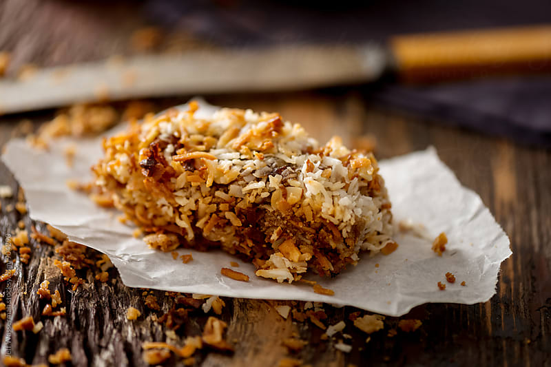 Homemade Coconut-Date Power Bar by Jeff Wasserman for Stocksy United