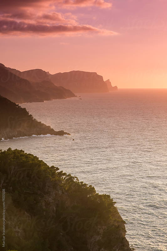 Mallorca coast at sundown by Marilar Irastorza for Stocksy United