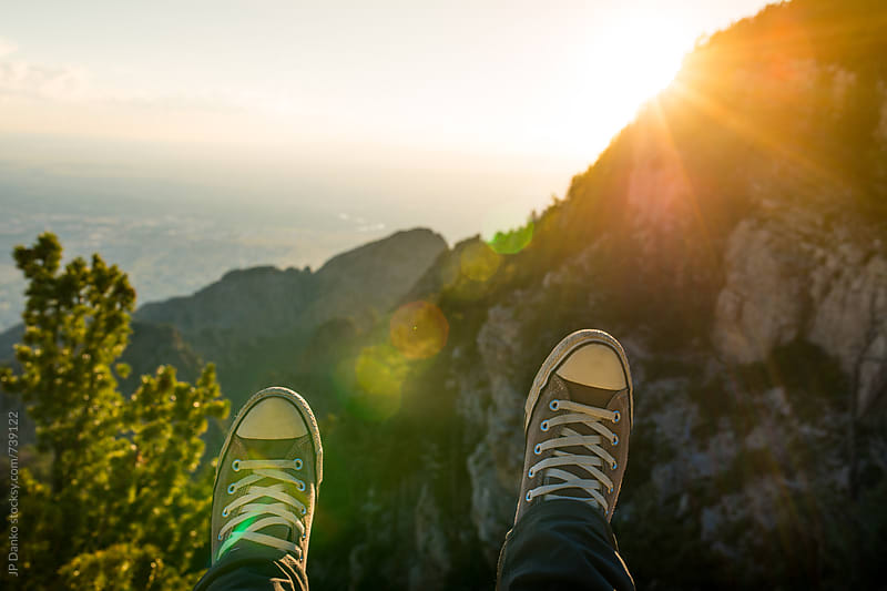Mans Shoes Overlooking Sandia Peak Canyon Albuquerque New Mexico Mountain Wilderness at Sunset by JP Danko for Stocksy United