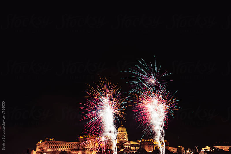 Castle of Buda, Budapest, Hungary with fireworks in front of it by Beatrix Boros for Stocksy United