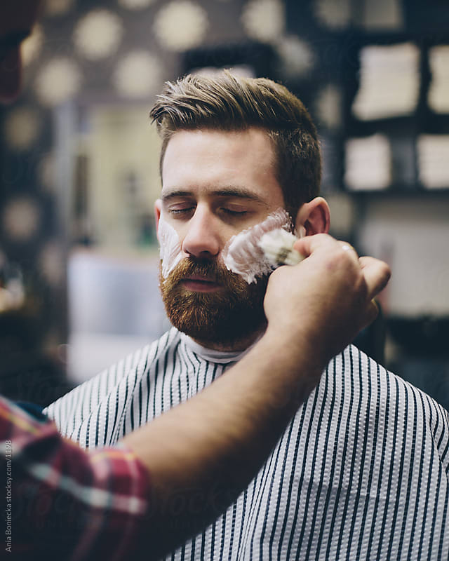 Beard shave by Ania Boniecka for Stocksy United