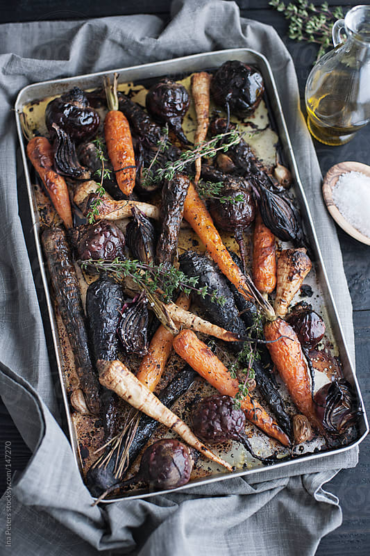 Food: Grilled Root Vegetables on a Baking Tray by Ina Peters for Stocksy United