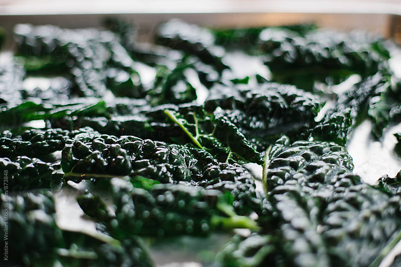Kale Chips being prepared on a baking sheet by Kristine Weilert for Stocksy United