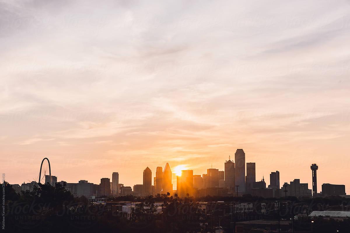 dallas skyline at sunrise stocksy united