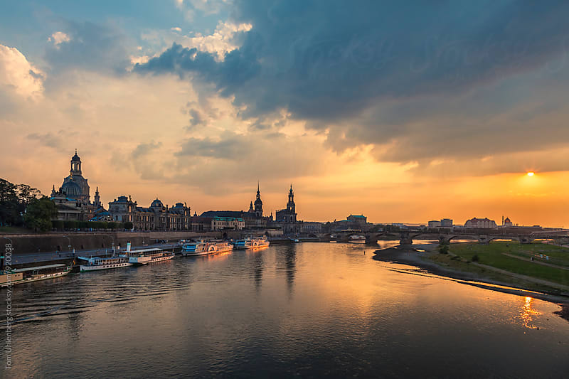 Dresden, Germany - City Skyline and the River Elbe at Sunset by Tom Uhlenberg for Stocksy United