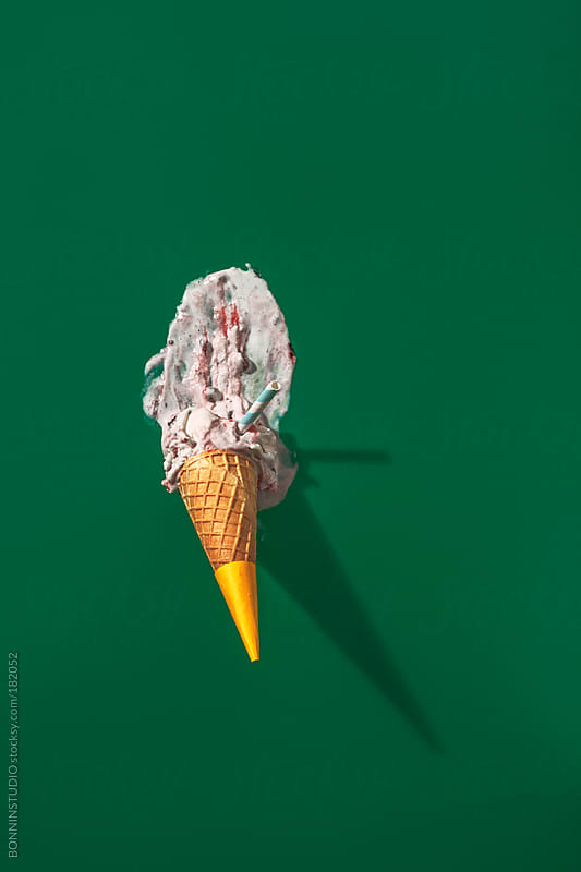 Forest fruits ice cream overhead on green background. by BONNINSTUDIO for Stocksy United