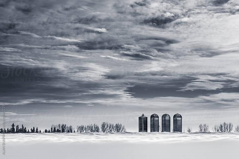 Farm Silos on the Prairie in winter by ALAN SHAPIRO for Stocksy United