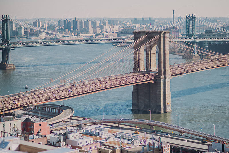 Brooklyn Bridge, Williamsburg Bridge, and downtown Manhattan around the East River by Lauren Naefe for Stocksy United