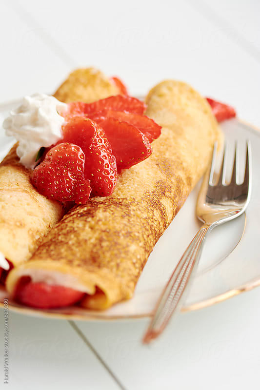 Strawberry Crepes by Harald Walker for Stocksy United