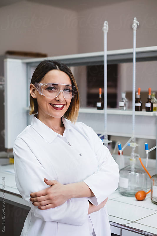 Portrait of Beautiful and Young Female Chemist by Katarina Radovic for Stocksy United