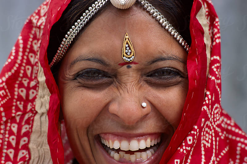 Smiling Rajasthani woman. Thar Desert. India. by Hugh Sitton for Stocksy United