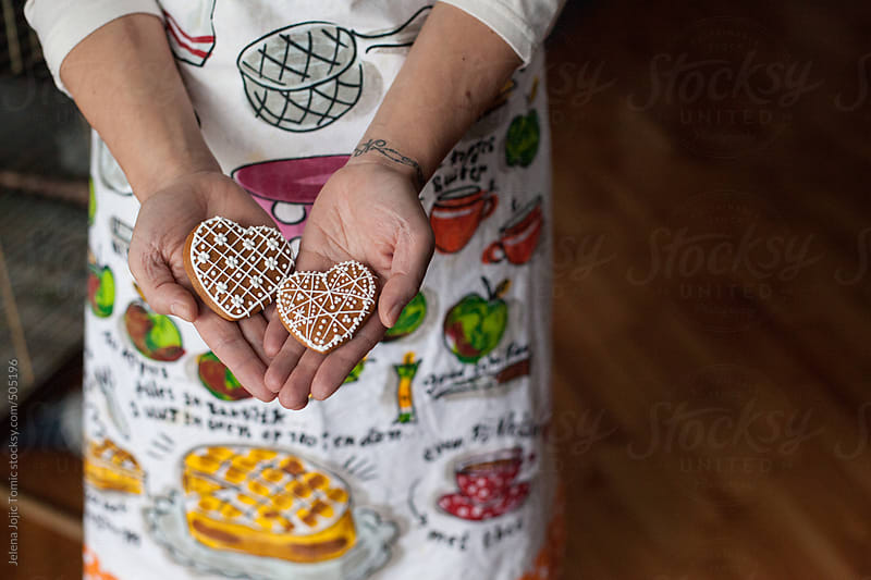 Decorated heart cookies for Valentine's Day by Jelena Jojic Tomic for Stocksy United