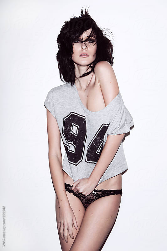 Darked Haired Female wearing Sports T-Shirt by WAA for Stocksy United