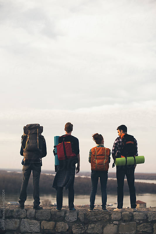 Group of Backpackers by Lumina for Stocksy United