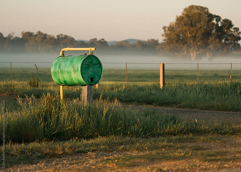 Green Mailbox on an Australian Country Road by Gary Radler Photography for Stocksy United