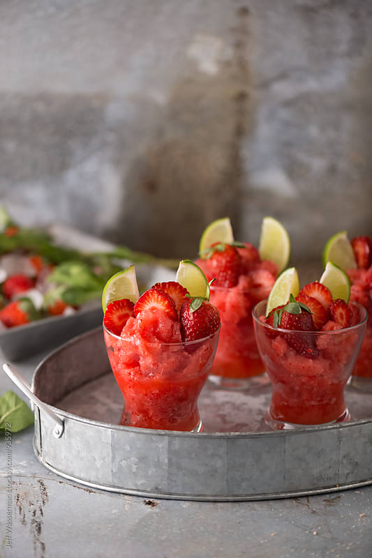 Frozen Strawberry Daiquiri Cocktails by Studio Six for Stocksy United