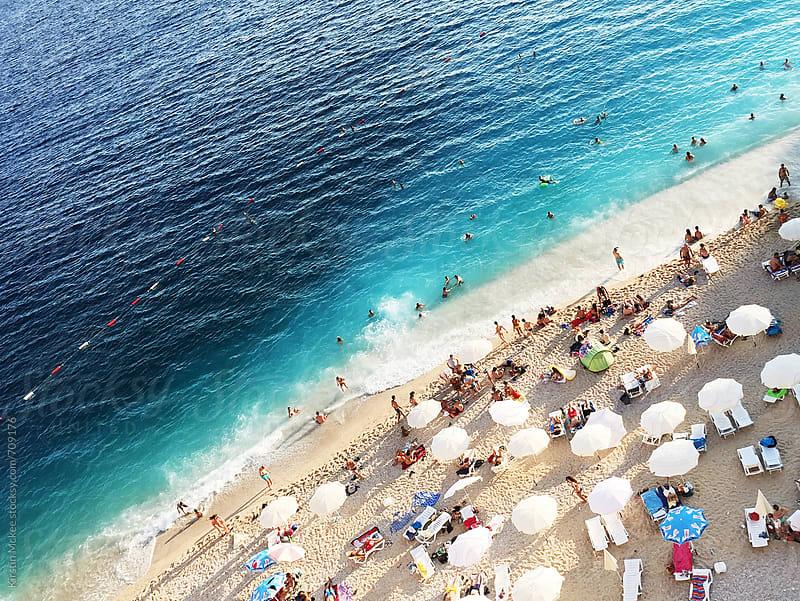 Overhead view of Kaputas Beach, Turkey by Kirstin Mckee for Stocksy United