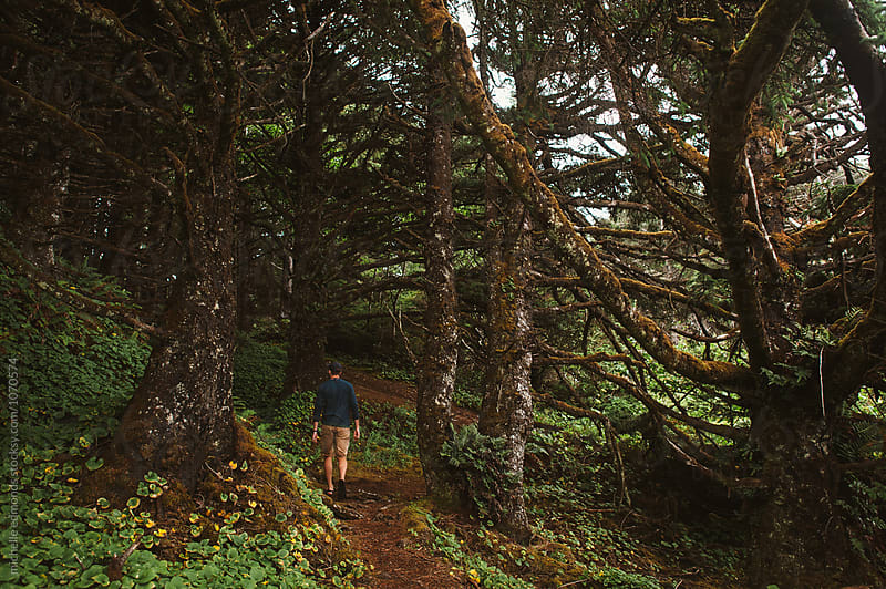 Man Hiking through the Woods on a Trail by michelle edmonds for Stocksy United