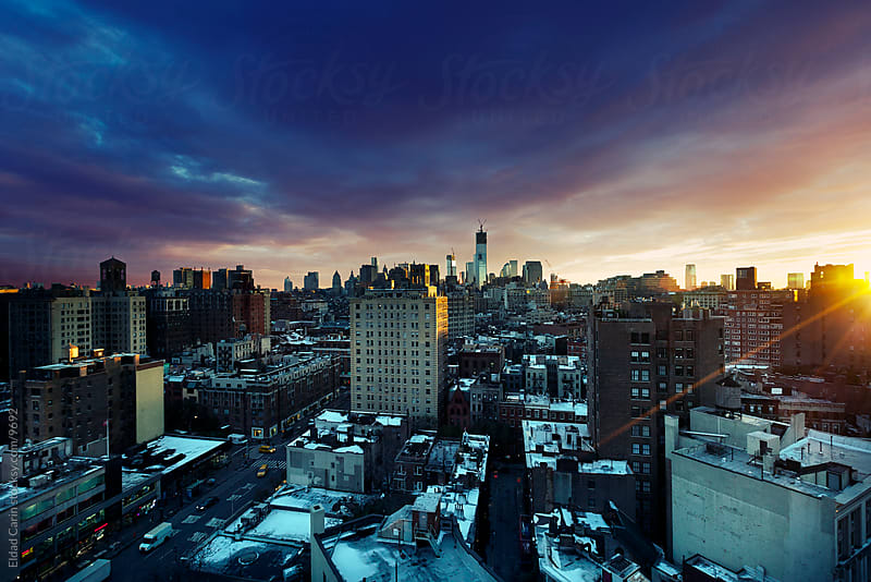 Winter Sunset West Village & Lower Manhattan New-York by Eldad Carin for Stocksy United