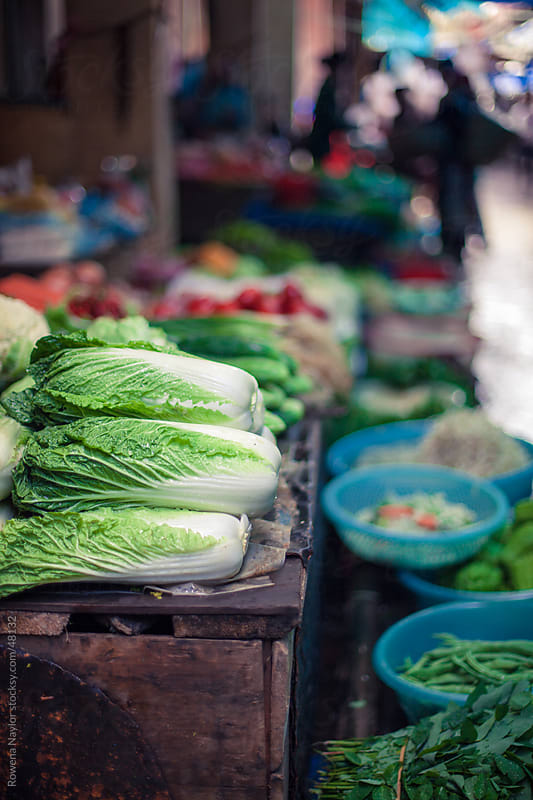 Chinese Cabbage for sale at ethnic market by Rowena Naylor for Stocksy United