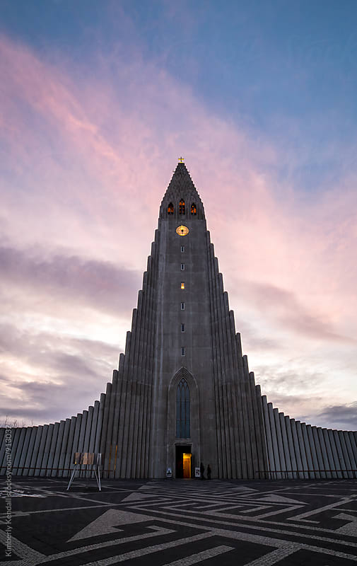Hallgrímskirkja at Sunrise by Kimberly Kendall for Stocksy United