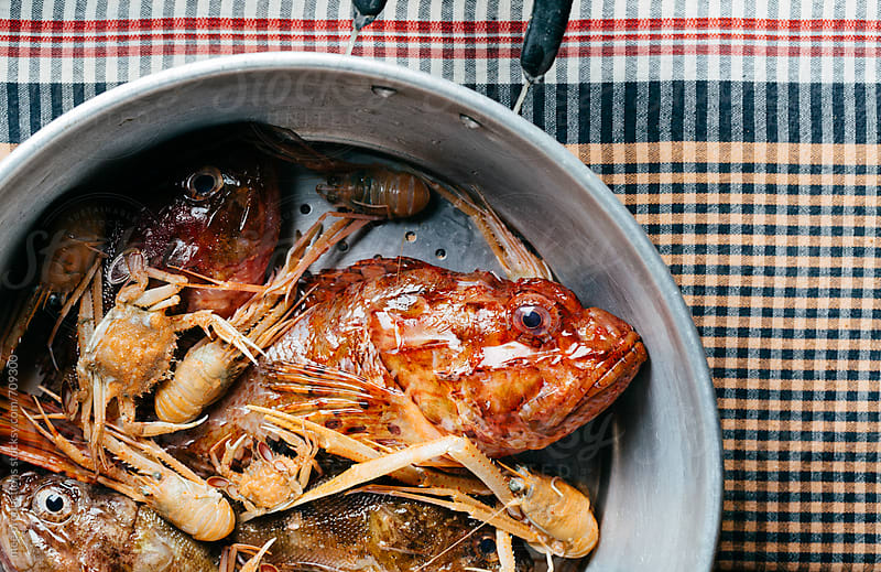 Paella and bouillabaisse ingredients in a pot. by mee productions for Stocksy United
